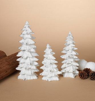 Set of 3 White Glitter Trees