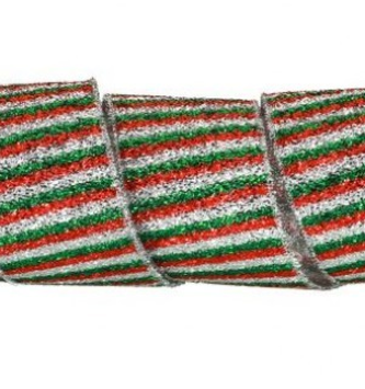 Tinsel Stripe Wired Ribbon