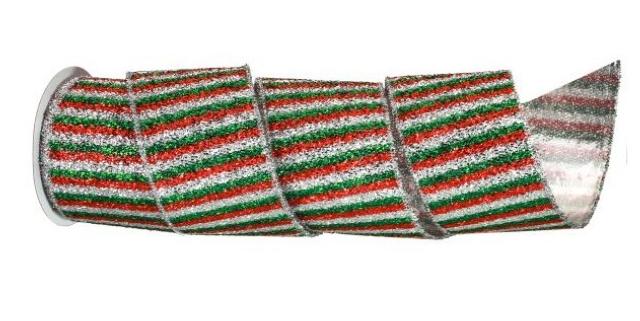 Tinsel Stripe Wired Ribbon