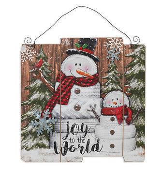 Joy to the World Winter Snowman Scene