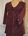 V-Neck Long Sleeve Tunic Merlot (3-Sizes)