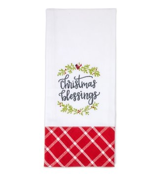 Embroidered Christmas Tea Towel