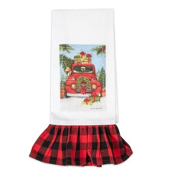 Plaid Embroidered Christmas Tea Towel (2-Styles)