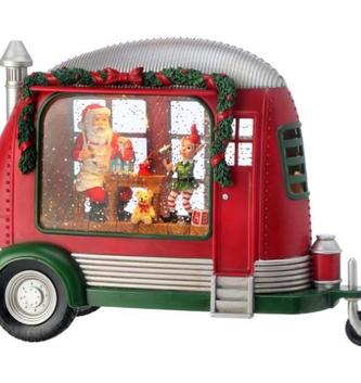 LED Santa in Vintage Camper Snowglobe Lantern