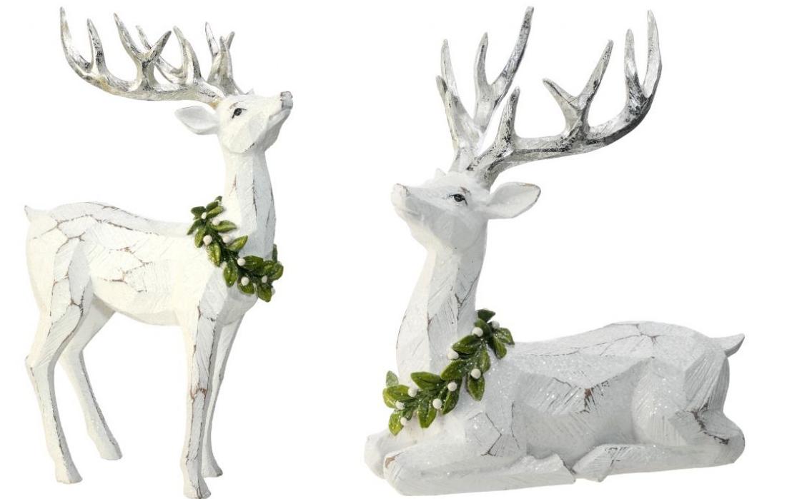 Set of 2 Frosted Mistletoe Deer