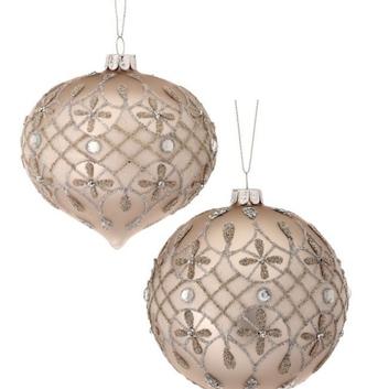 Platinum Jeweled Glass Ornament (2-Styles)