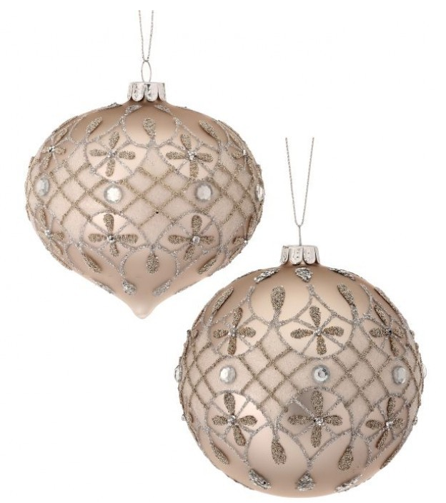 Platinum Jeweled Glass Ornament (2-Styles)