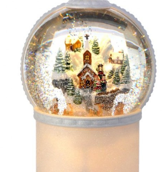 LED Mountain Christmas Village Snow Globe