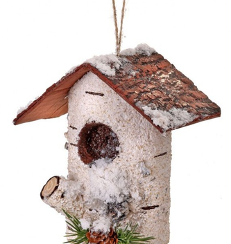 Frosted Birch Birdhouse Ornament
