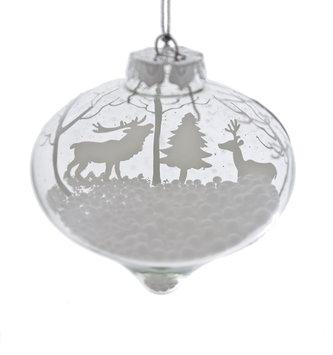 Snowy Glass Winter Scene Ornament (2-Styles)