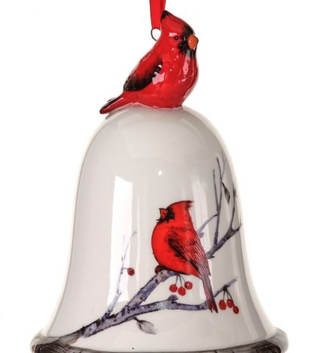 Ceramic Cardinal Bell Ornament