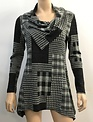 Asymmetrical Black and Taupe Plaid Tunic (4-Sizes)