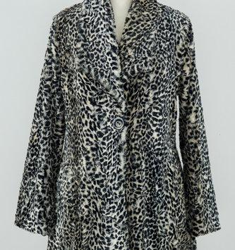 Black Cheetah Fur Button Jacket