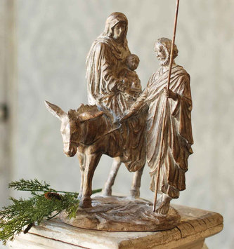 Woodgrain 1 Piece Holy Family Nativity