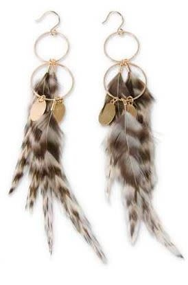 Double Hoop Feathered Earrings with Charms (3-Colors)