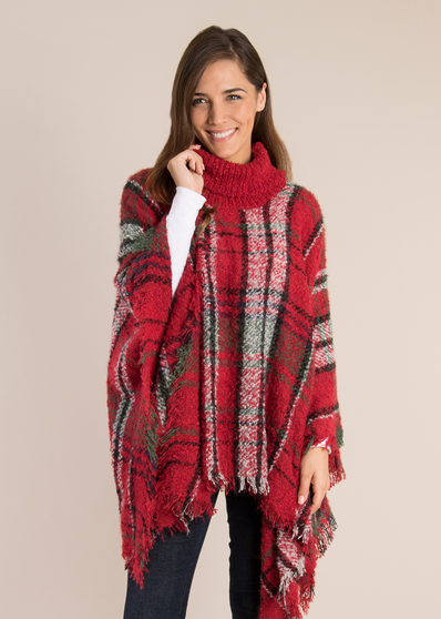 Simply Noelle Plaid Cowl Neck Poncho (3-Colors)