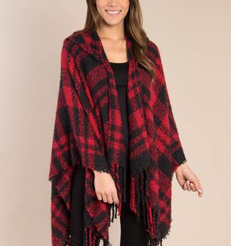 Simply Noelle Buffalo Plaid Hooded Wrap (2-Colors)