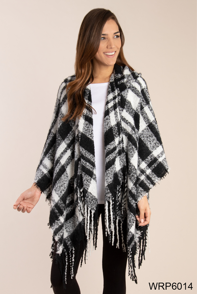 Simply Noelle Buffalo Plaid Hooded Wrap (2-Colors)