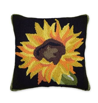 Plow & Hearth Hooked Sunflower Pillow