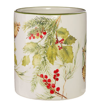 Pinecone & Holly Christmas Container