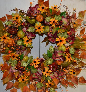 Custom Autumn Hydrangea Wreath