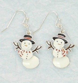 Moveable Snowman Earrings