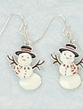 Moveable Snowman Earrings