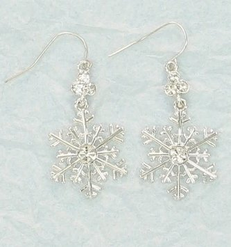 Crystal Silver Snowflake Earrings
