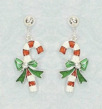 Clip on Candy Cane Earrings