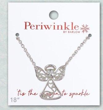 Silver Angel w/ Crystal Necklace & Earring Set