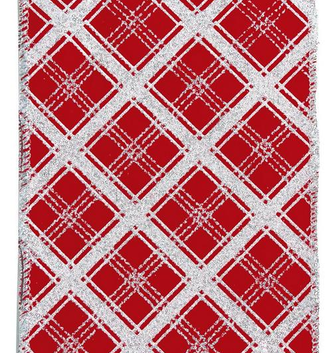 "4"" 10 YD Red Silver Lattice Ribbon"