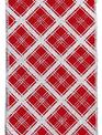"""4"""" 10 YD Red Silver Lattice Ribbon"""
