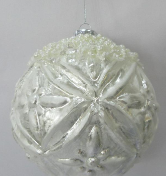 Pearl Encrusted Silver Ball Ornament