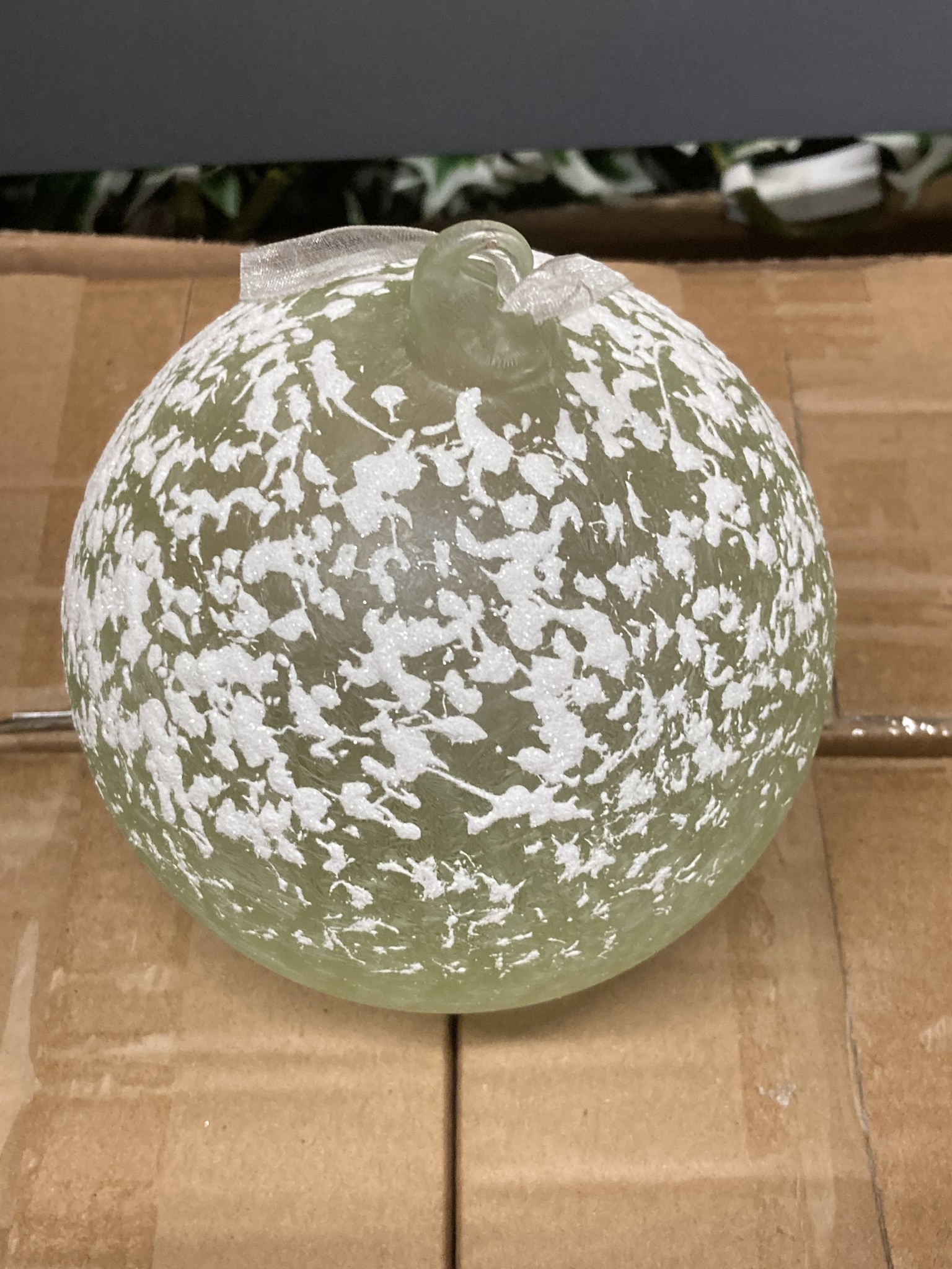 Snow Covered Sage Glass Ball Ornament