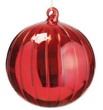 Red Glass Ribbed Ornament (2-Sizes)