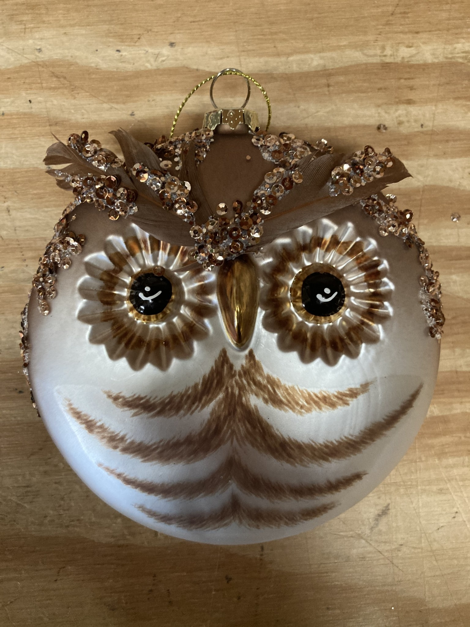 Glass Owl Disc Ornament (3-Styles)