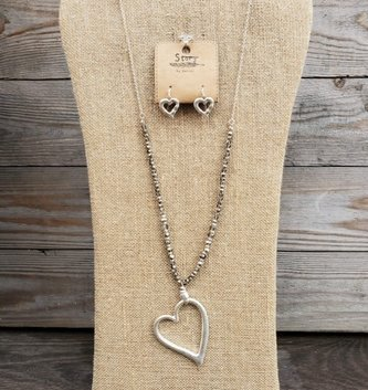 Beaded Heart Drop Necklace & Earring Set