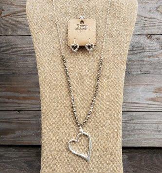 Beaded Heart Drop Necklace & Earring Set