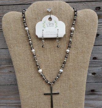 Beaded Cross Necklace & Earring Set