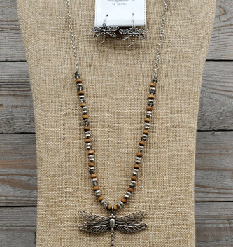 Brown Beaded Dragonfly Necklace & Earring Set