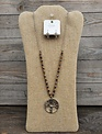 Brown Beaded Tree of Life Necklace & Earring Set