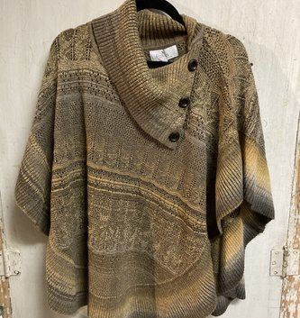 Olive Button Poncho (2-Sizes)