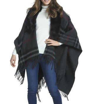 Plaid Fur Cape (2-Colors)