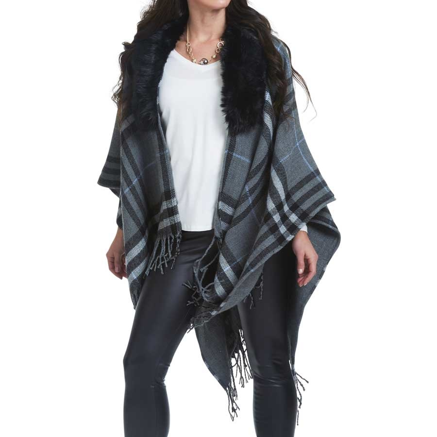 Plaid Fur Cape (2-Colors)