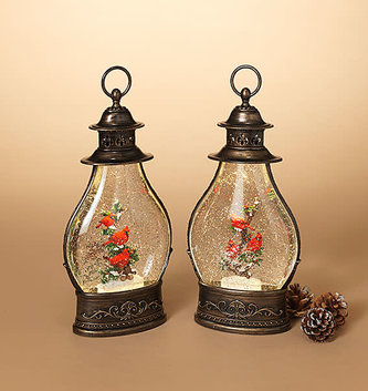 LED Bronze Cardinal Snow Globe Lantern (2-Styles)