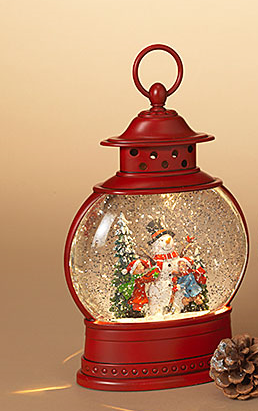 LED Christmas Red Oval Snow Globe Lantern (2-Styles)