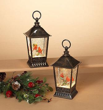 LED Lampost Cardinal Snow Globe Lantern (2-Styles)