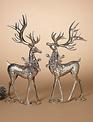 Set of 2 Silver Snowflake Deer