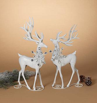 Set of 2 White Snowflake Deer