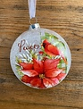Frosted Glass Poinsettia & Cardinal Ornament (3-Styles)